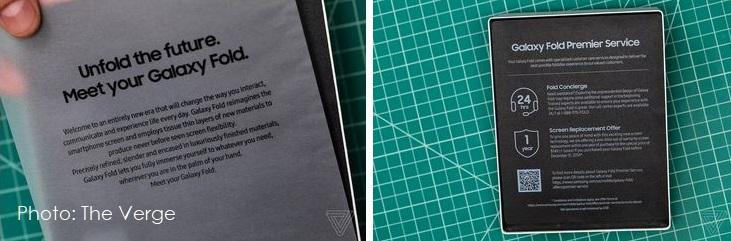 3 samsung fold warnings in packaging