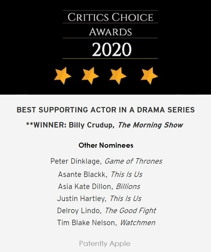 2 X Billy Crudup winner of critics choice awards  best actor   Jan 2020