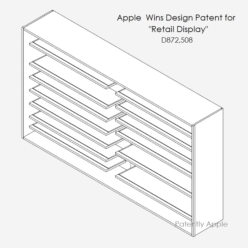 5 Apple granted design patent D872 508 for retail display
