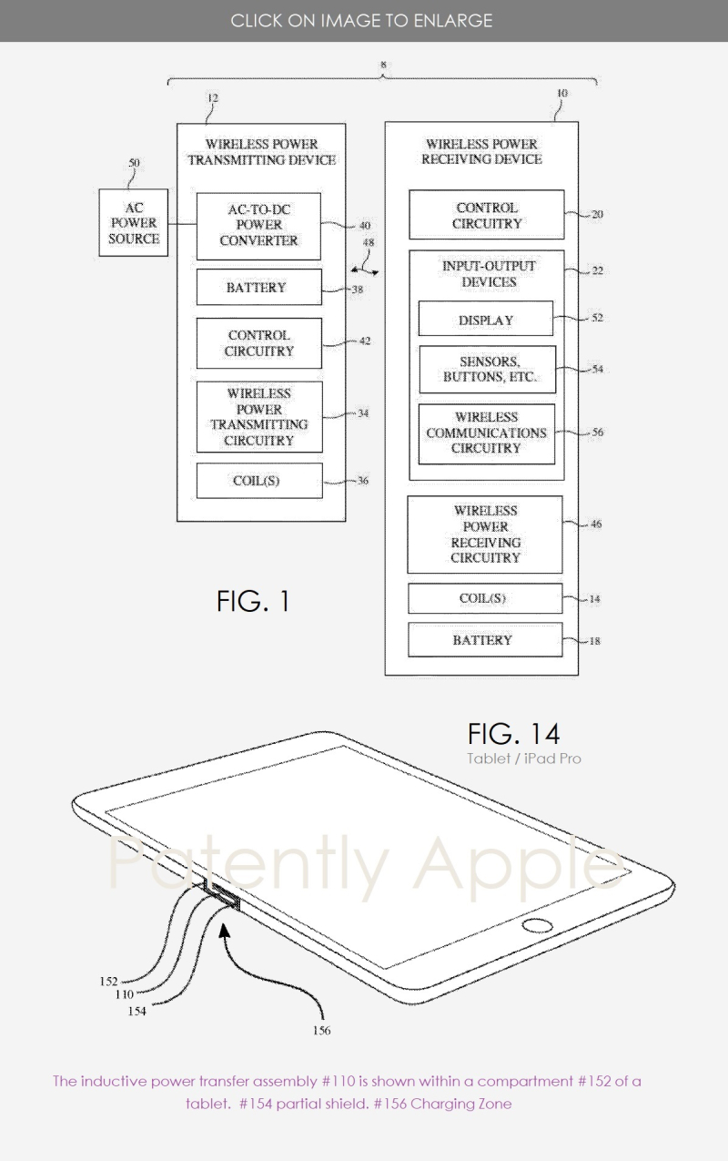 2 new kind of wireless charging patent figs 1 & 14 Patently Apple IP report Oct 13  2019