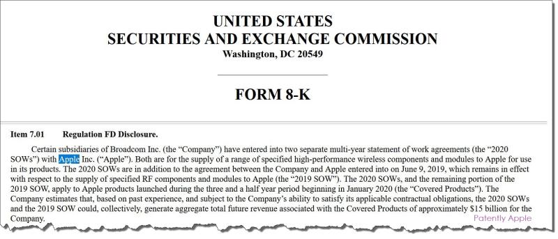2 X Form 8-K Broadcom on Apple deal