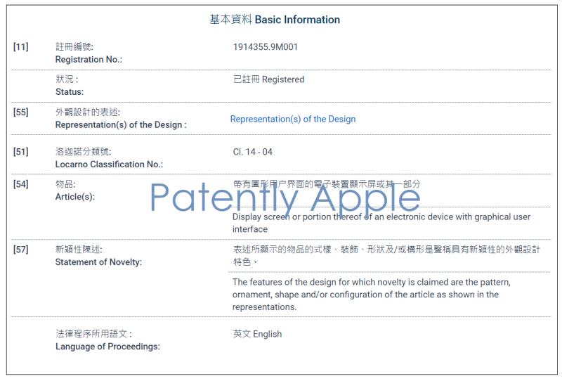 3 partial Hong-Kong granted design patent form for 1914355.9M001 Giraffe