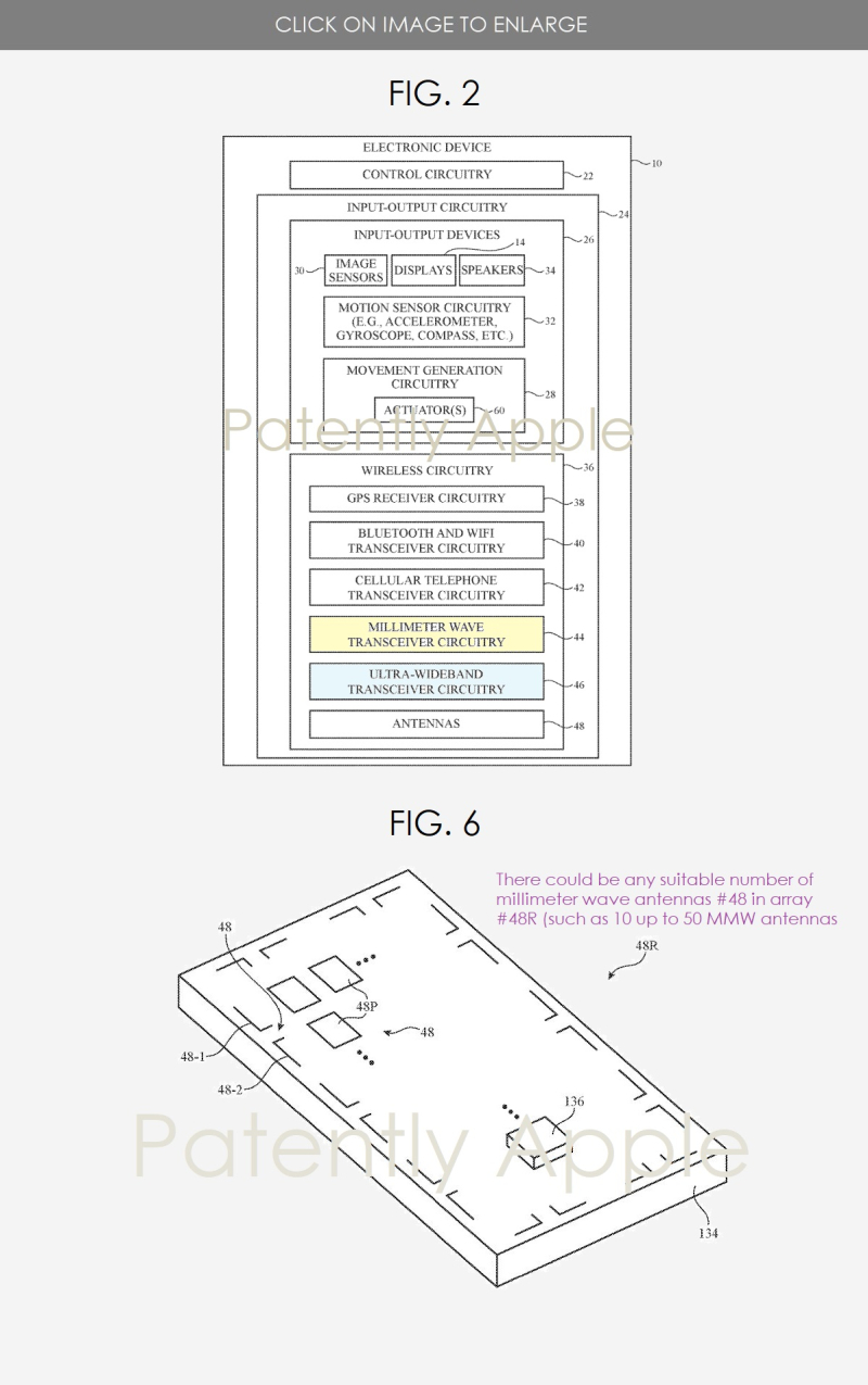 2 milllimeter wave transceiver circuitry  figs 2 & 6 Apple Patent  Patently Apple IP report oct 17  2019