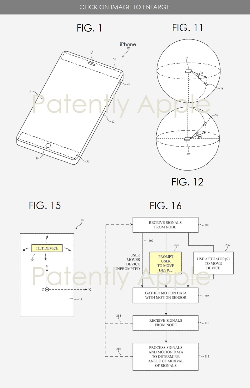 3 Apple patent figs 1  11  15 & 16 -  millimeter antennas  AirDrop changing underlying technology