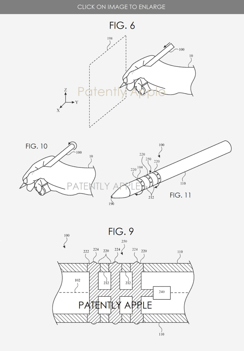 3 APPLE PATENT FIGS 6  9  10 & 11 APPLE PENCIL WITH TACTILE FEEDBACK & VIRTUAL SPACE