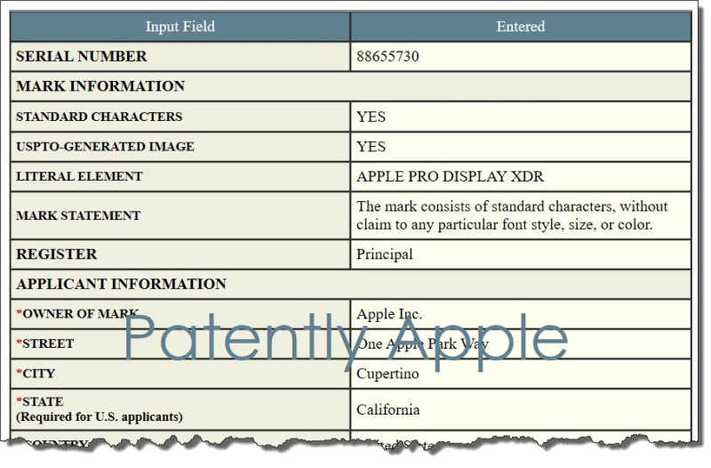 5 XFINAL -  USPTO TM APPLICATION FOR - APPLE PRO DISPLAY XDR
