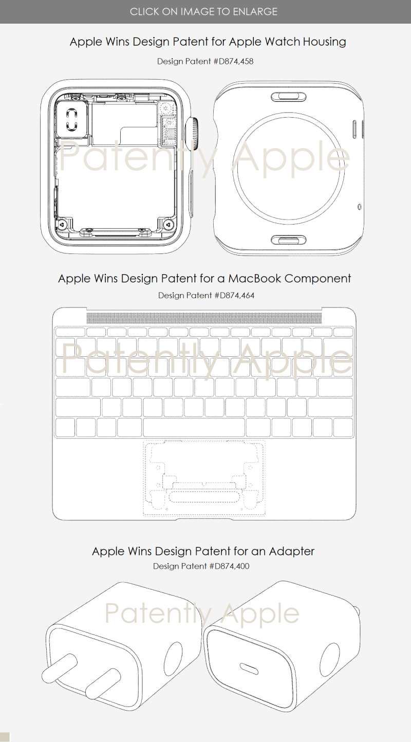 3 design patents granted to Apple Feb 4  2020