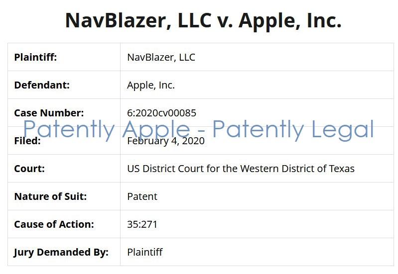 3 NavBlazer v Apple Patent Infringement case