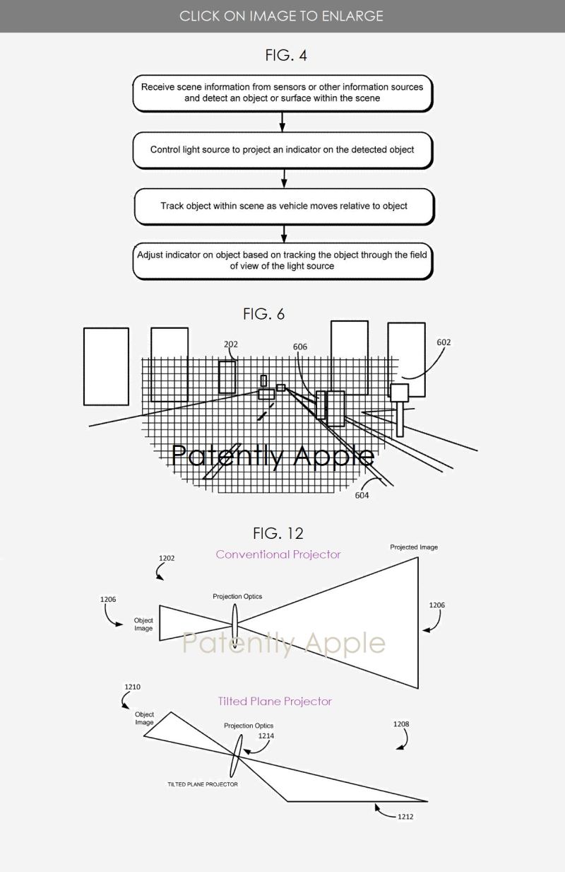 3 project titan patent figs 4  6 & 12 light and projector system wins apple patent