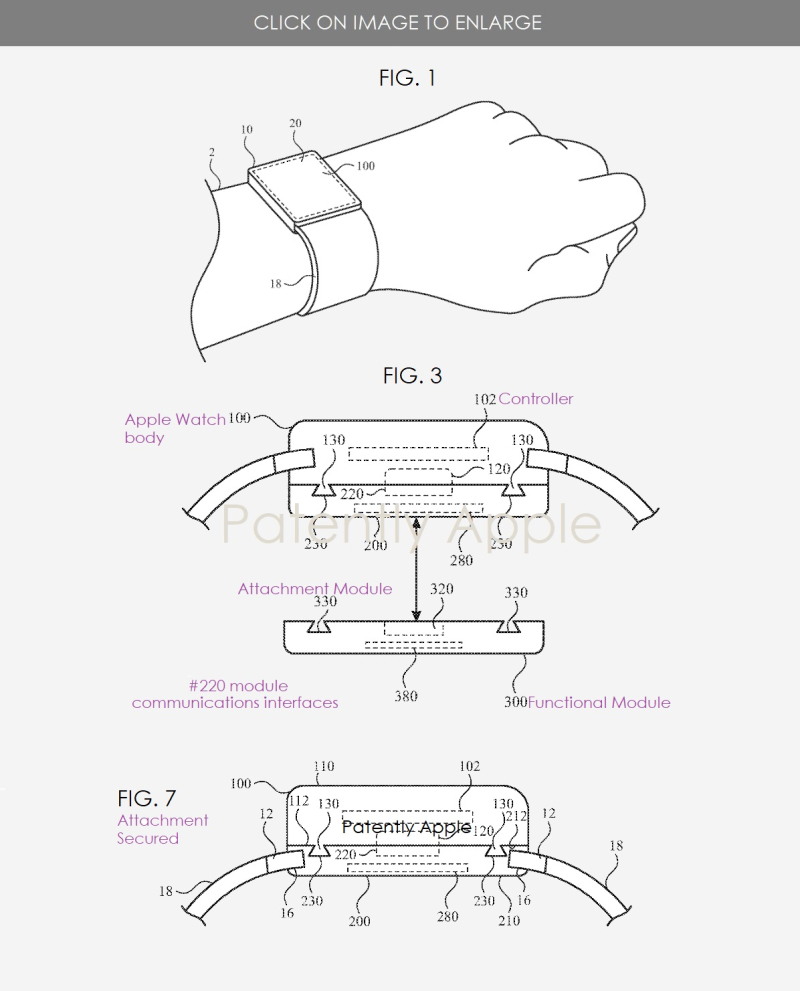 2x Apple Watch  attachable modules to extend functionality