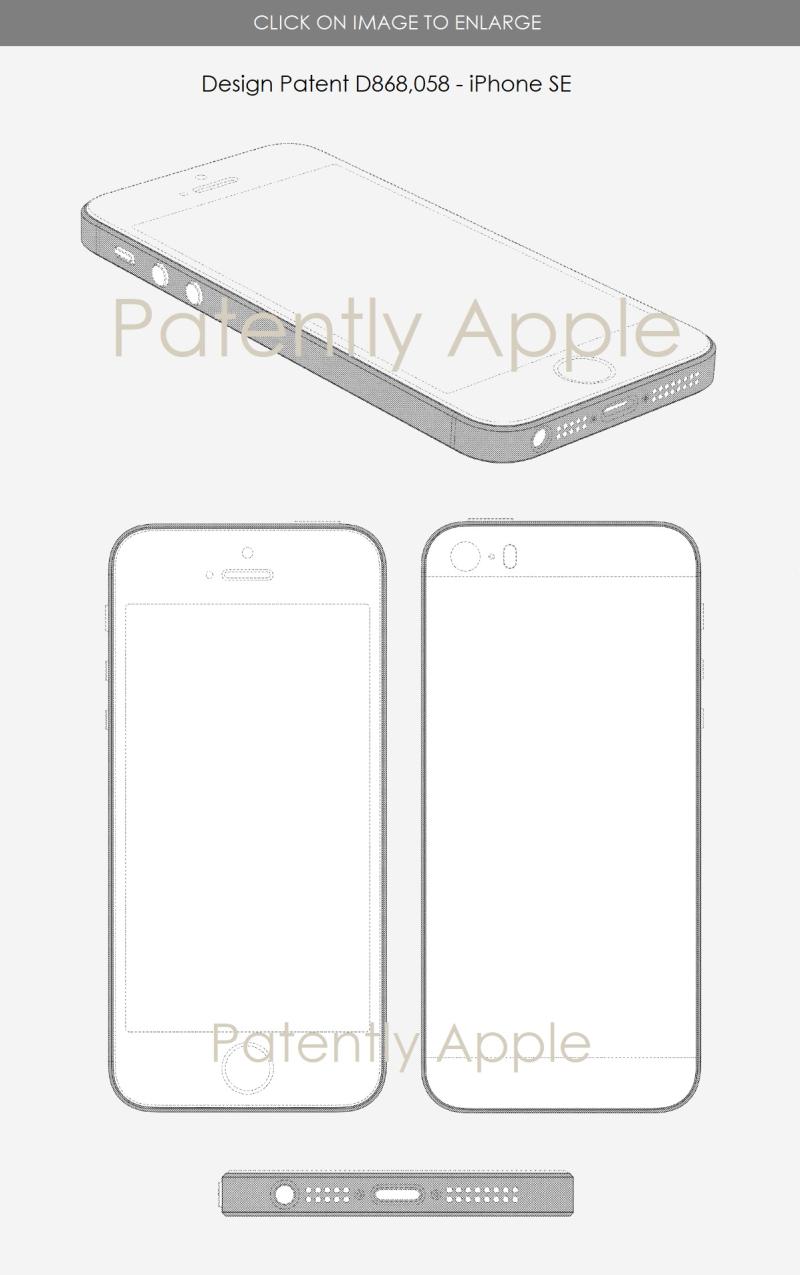 5 x Apple design patent for iphone se