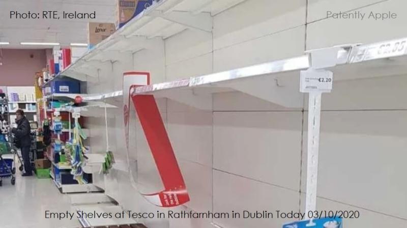 2 shelves empty in  Dublin on COVID-19 fears