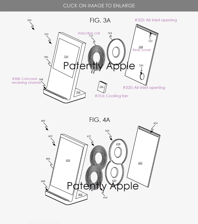 3 xFinal --  inductive charging dock 2 and 4 coil configs  apple patent
