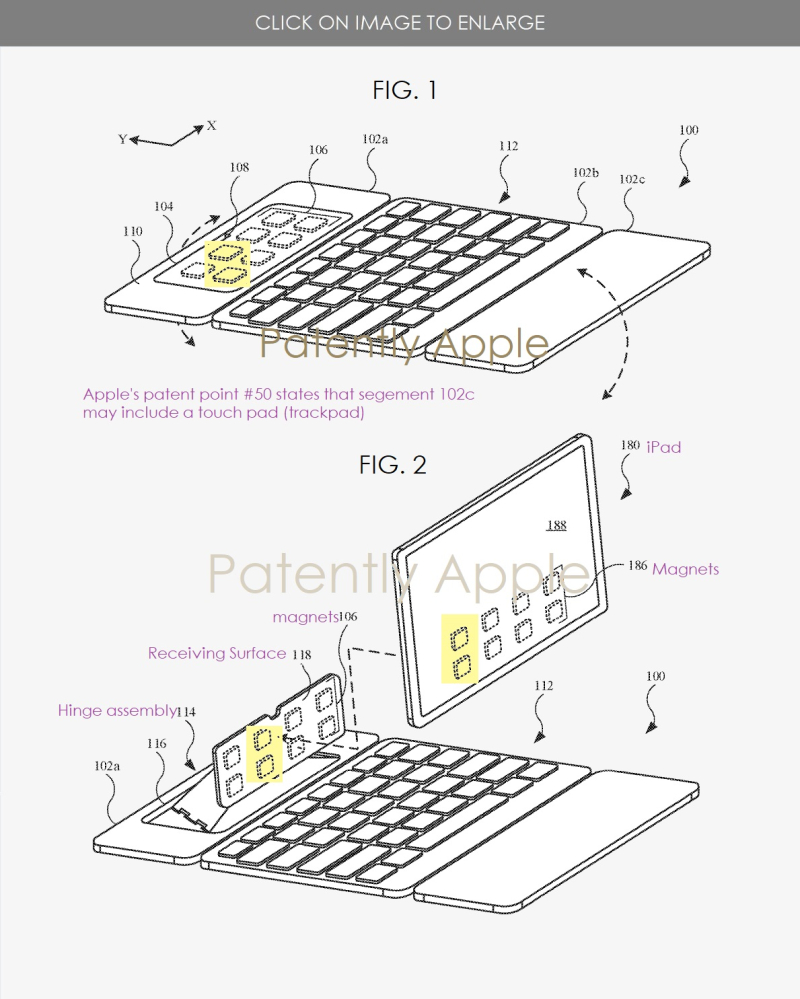 2 x Pad Pro Magic Keyboard patents with 2 patent figures