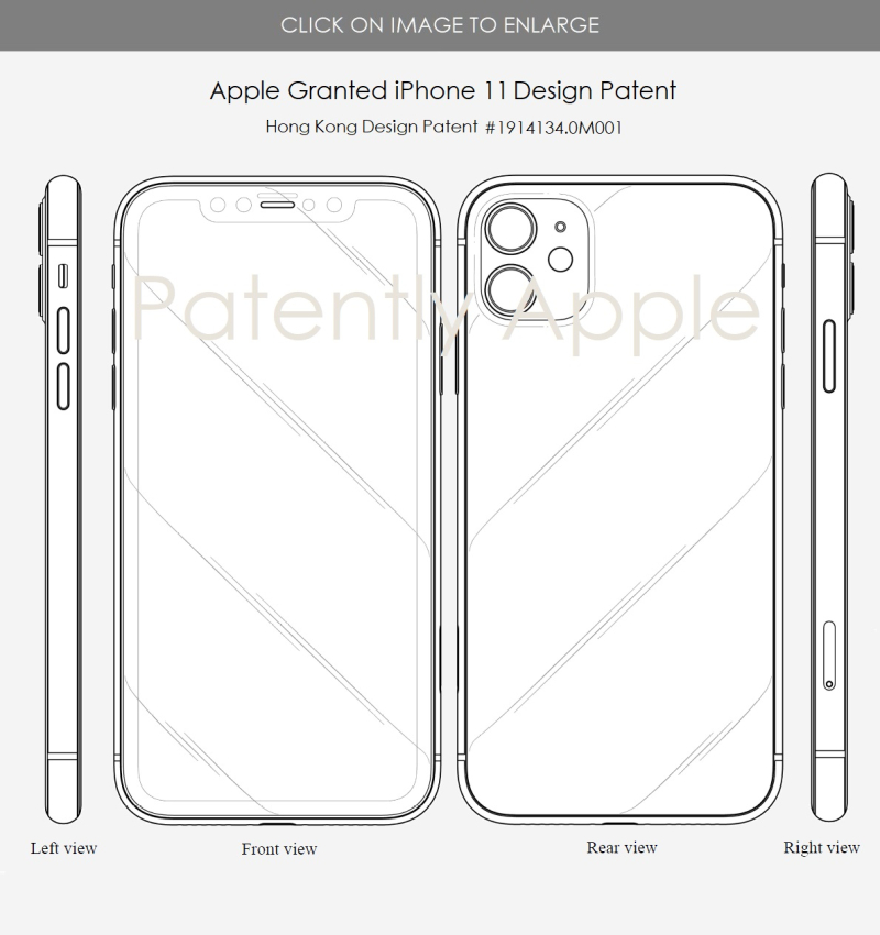 4x Entry level iPhone 11 granted design patent