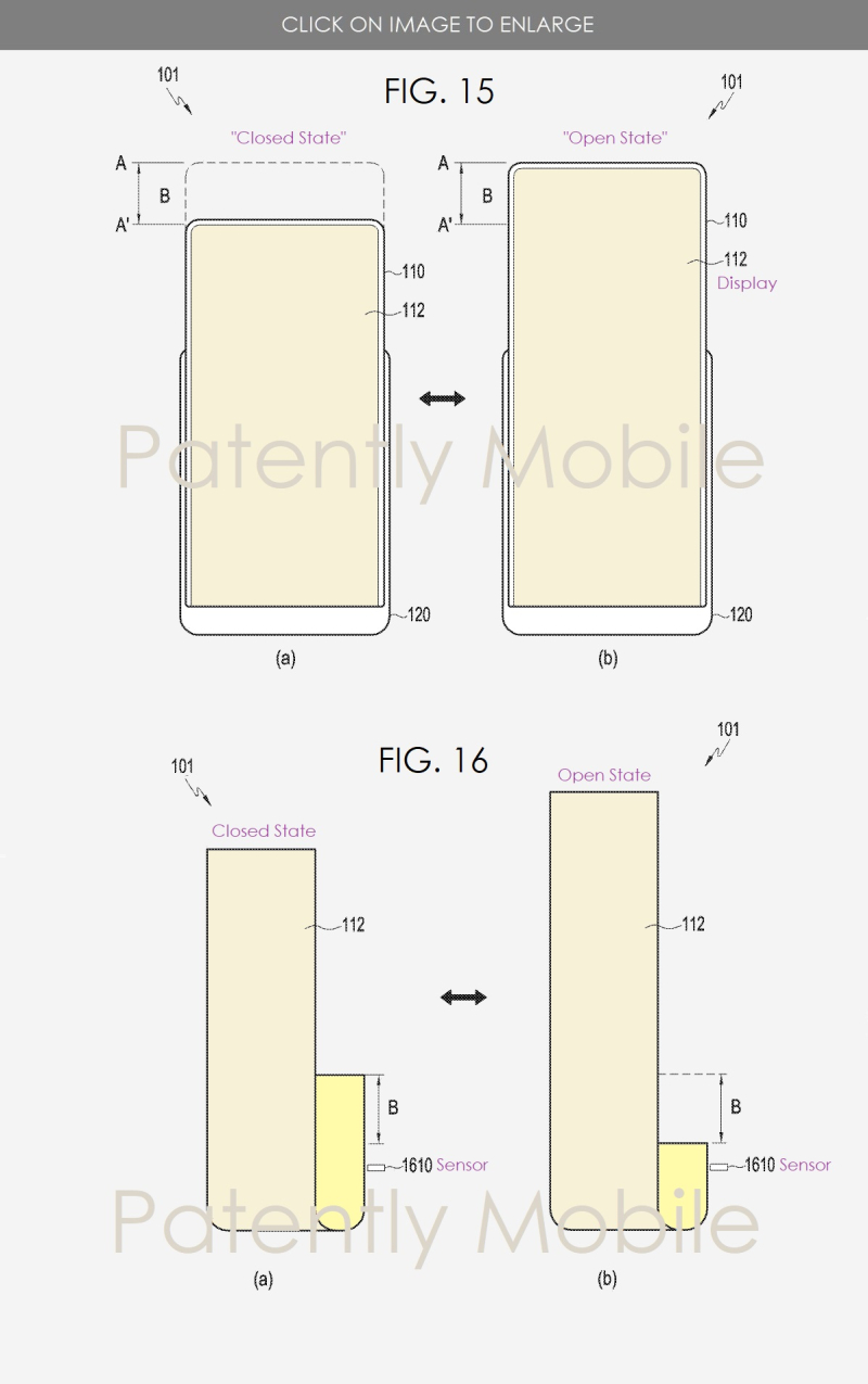 2 samsung patent figs 15 & 16  expandable display smartphone