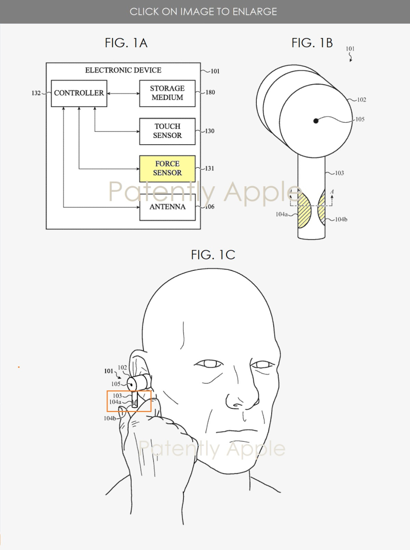 3 AirPods Pro with Force Touch patent  1st set of patent figures - Patently Apple IP report Apri 22  2020