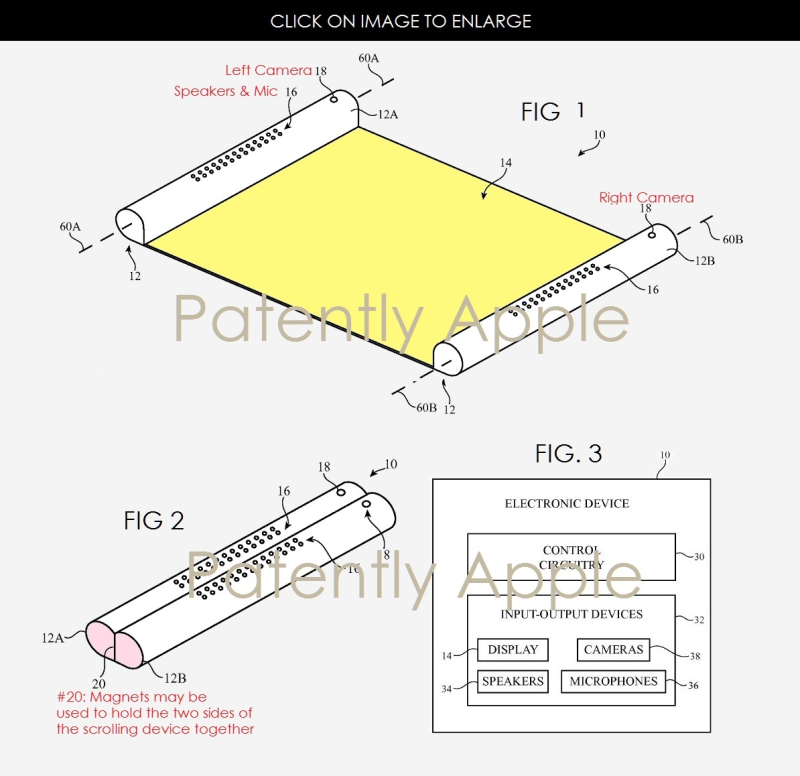 3x flexible battery for scrollable device