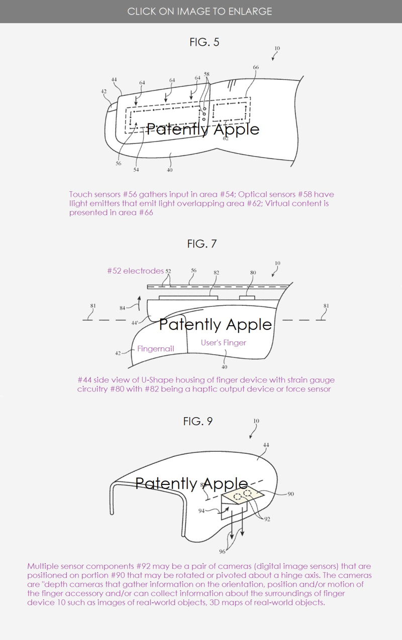 3 Apple patent for finger accessory for MR headset - figs 5  7 & 9