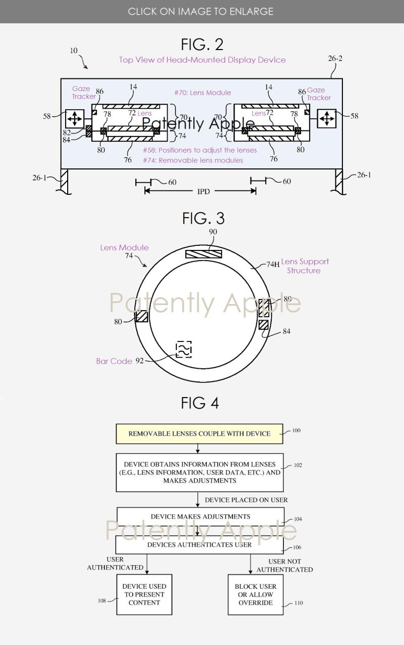 2 Apple HMD patent figs 2  3 & 4  prescription lens system