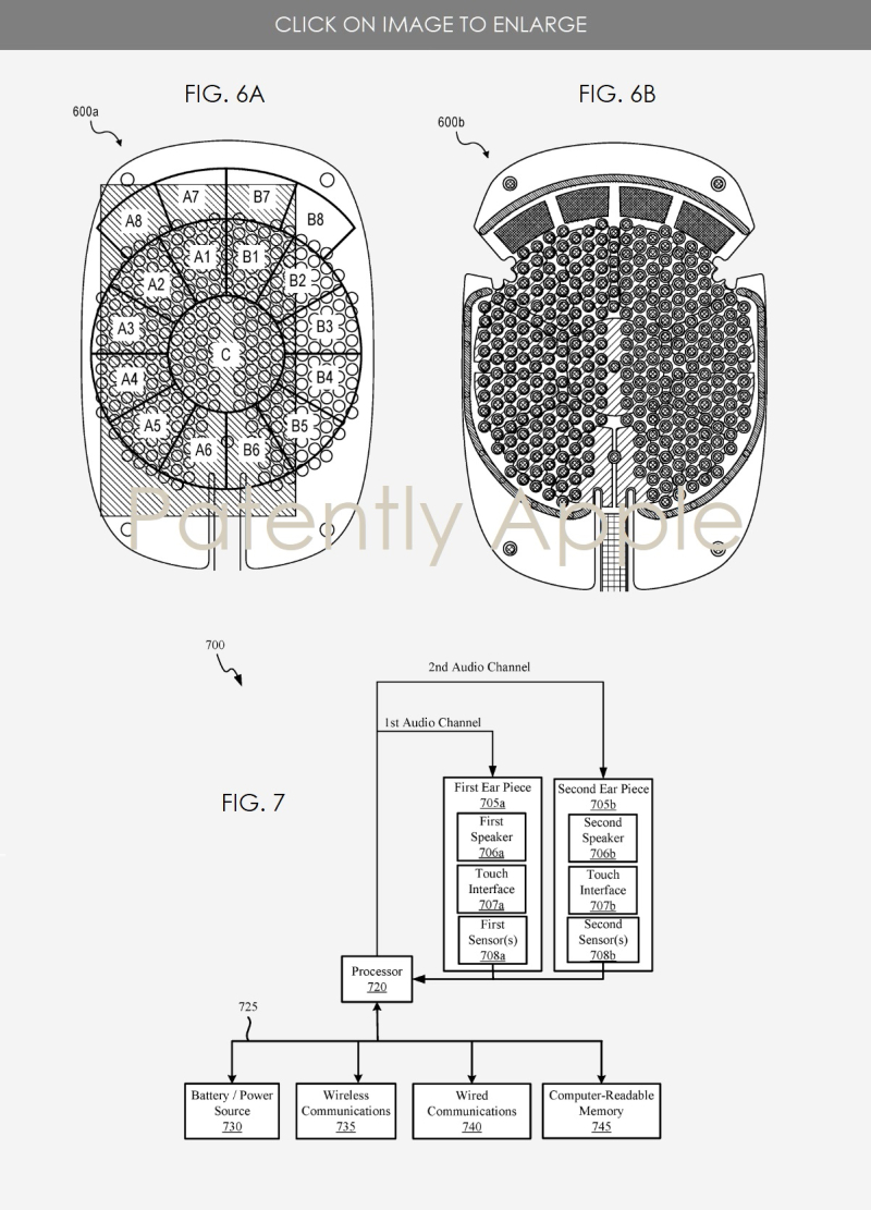 3 Headphone patent with audio controls on the headphone cups figs 6a  6b & 7
