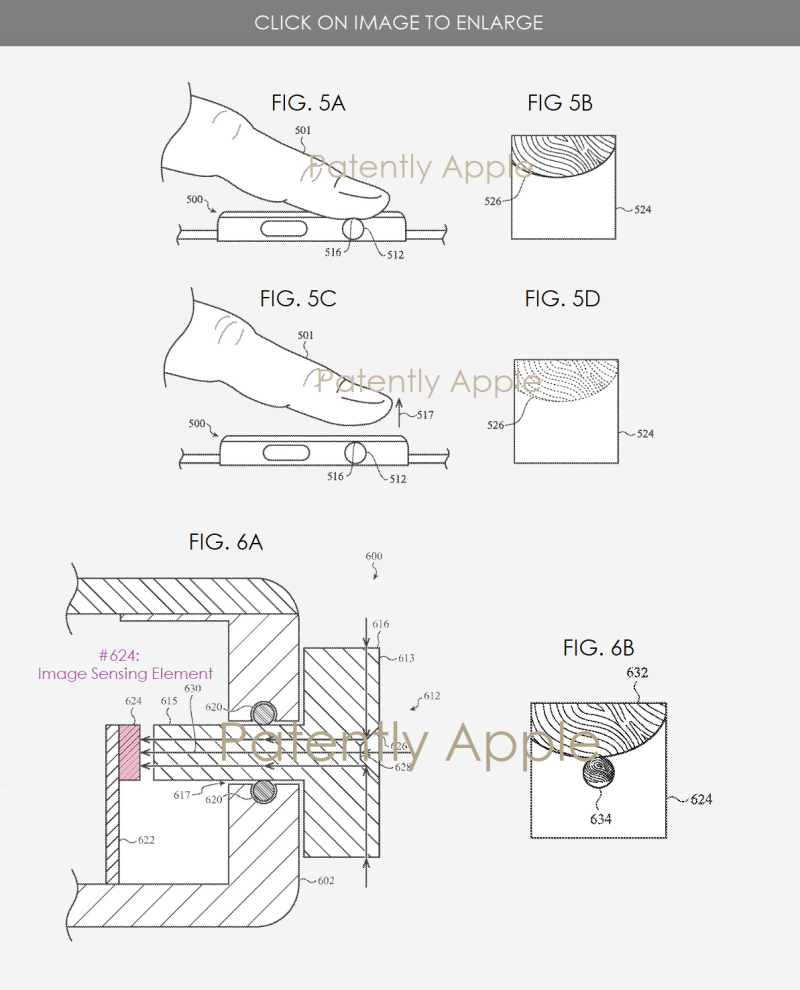 3 x Apple patent figs 5a-b  5c-d & 6a-b for Digital Crown Touch ID