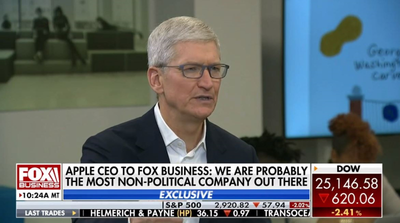 1 X cover tim cook interview with fox business news