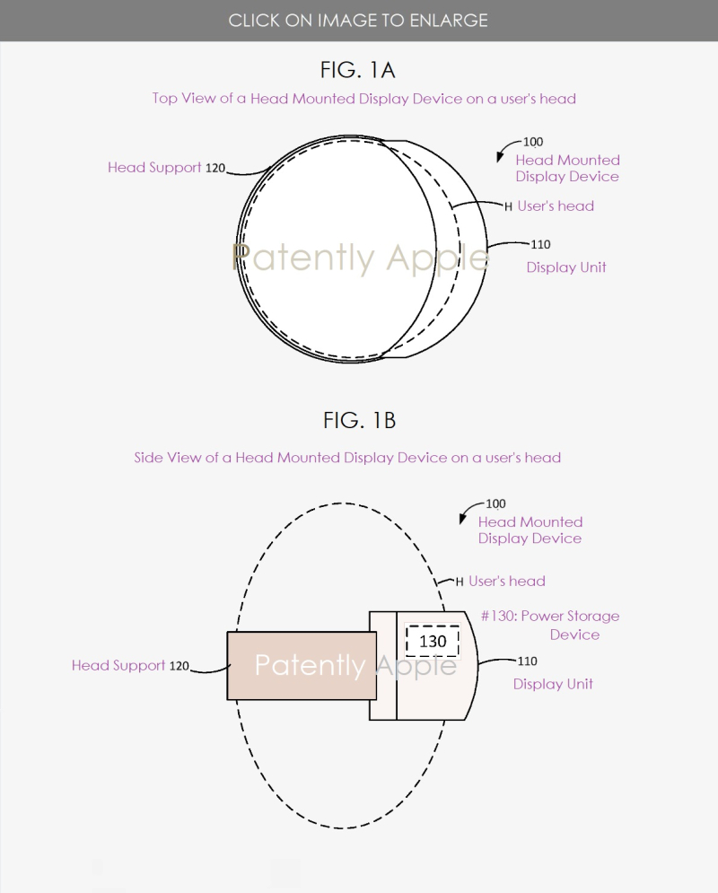 2 APPLE HMD DEVICE FIGS 1A AND 1B - WITH POWER STORAGE DEVICE