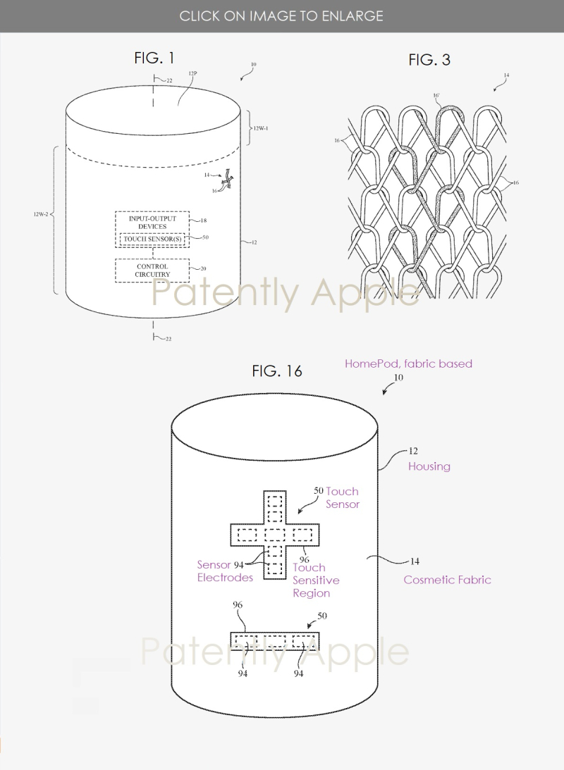 2 - Future HomePod with touch sensitive fabric that illustrates speaker controls +