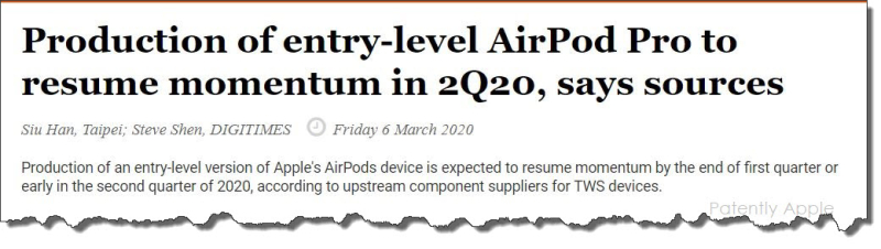 3 x iPods Pro Digitimes report mar 6  2020