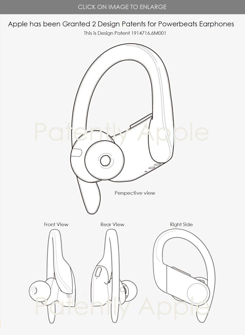 2 Apple design patent for Powerbeats earphones 6M001