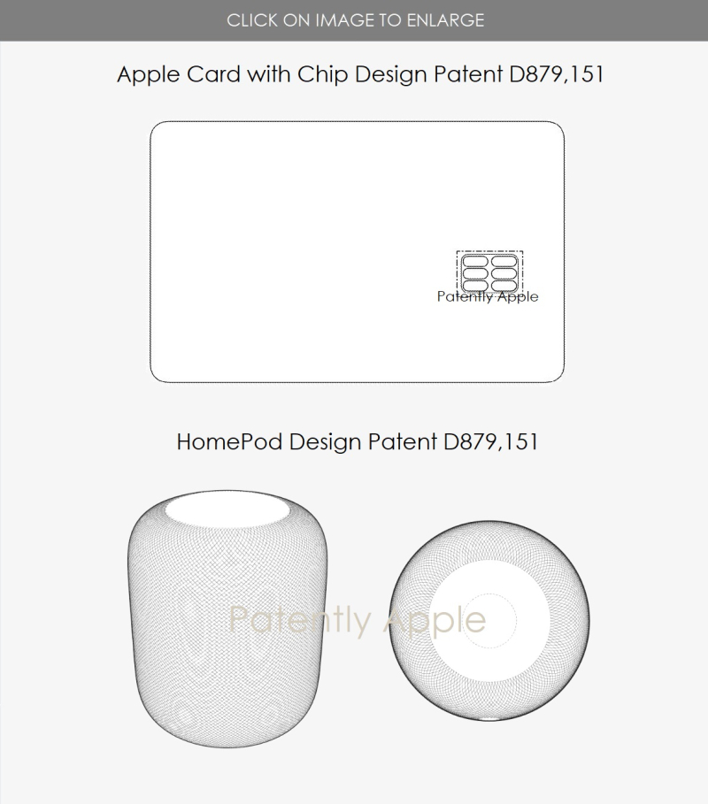 4 Design patents for HomePod and Apple Card with Chip