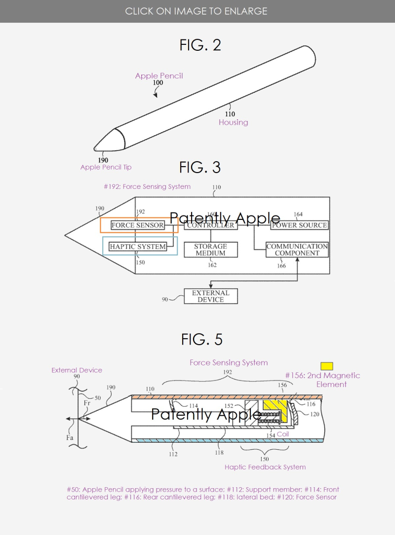 3 x Apple Pencil with advanced haptics to provide user with the ability to sense texture.