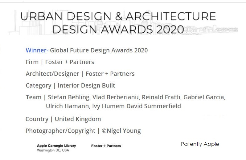 1 X EXTRA FOSTER + PARTNERS  WINNER OF AWARD  ARCHITECTURE FOR APPLE CARNEGIE
