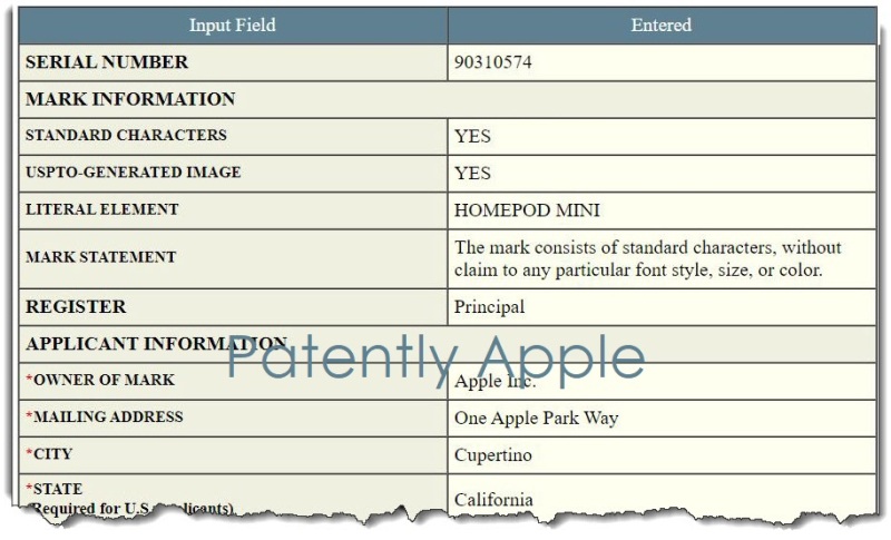 3 X Final -  tm filing for HomePod mini - with torn effect