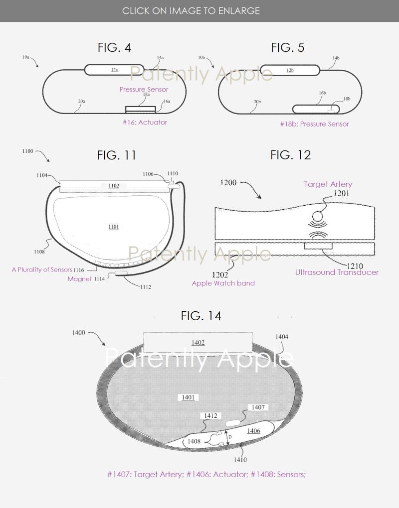 3 Apple watch blood pressure patent figs 4  5  11  12 & 14