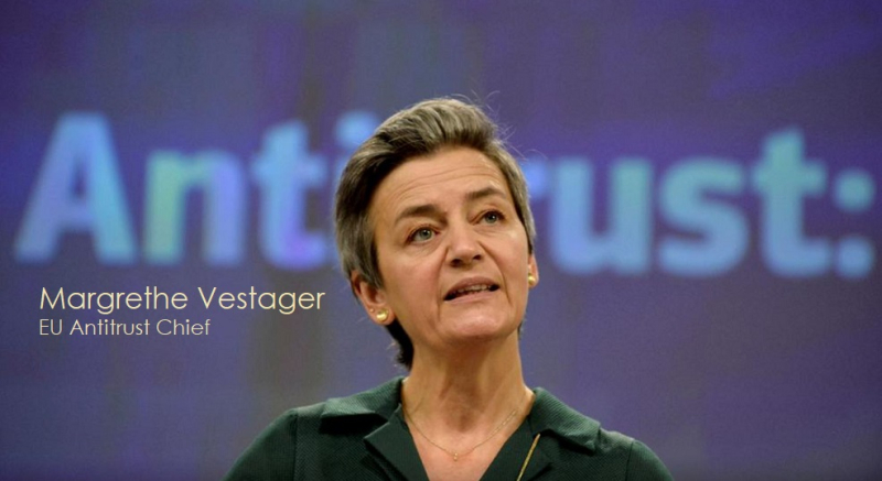 1 X cover Vestager applauds and warns Apple
