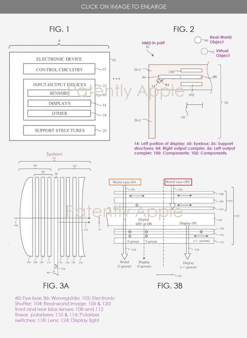 2 DISPLAY SYSTEM FOR AR HEADSET PATENT FIGS  APPLE INVENTION