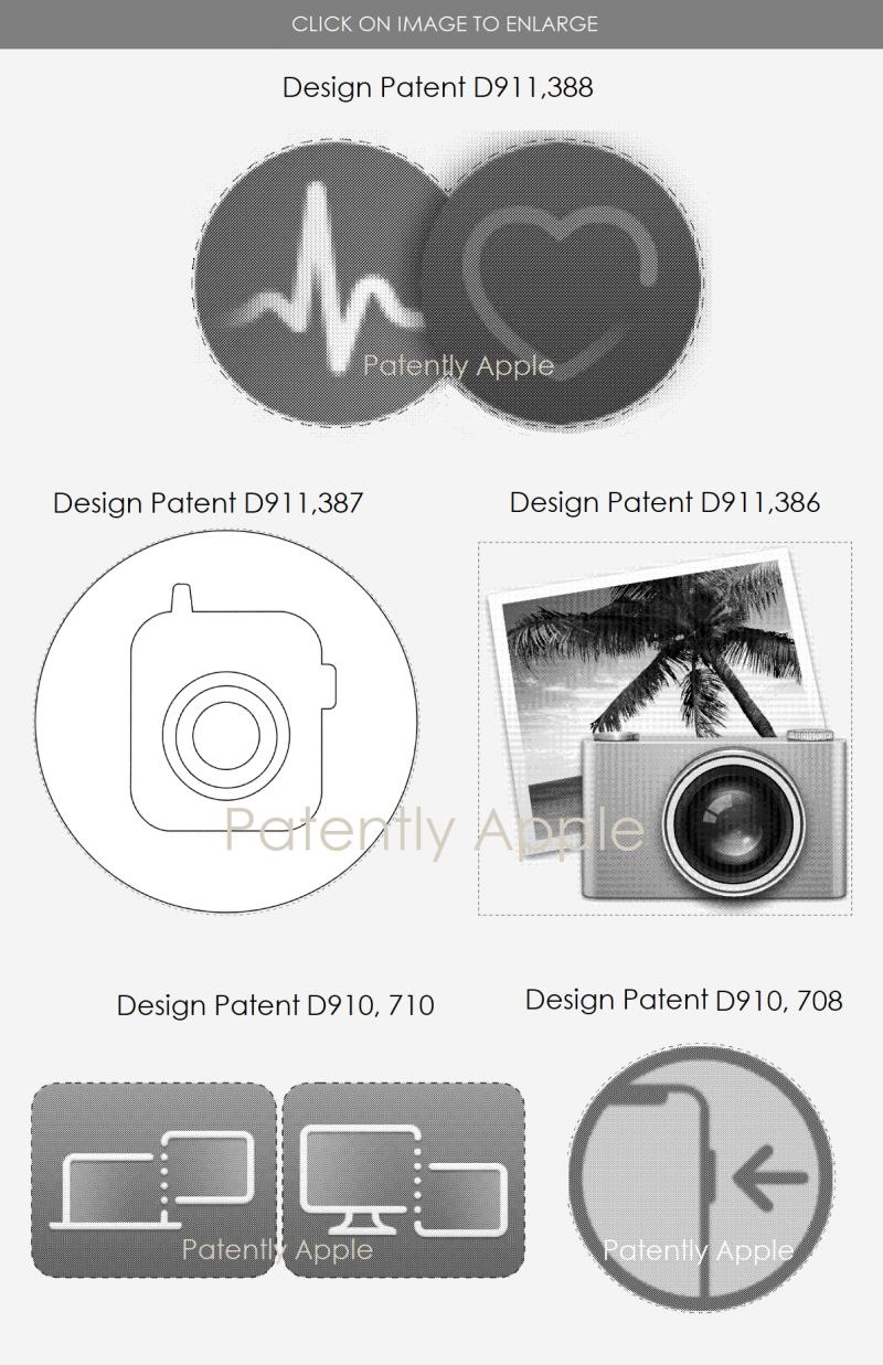3 design patents  icons +