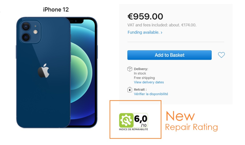 1 x Cover Apple new repairability score now in France