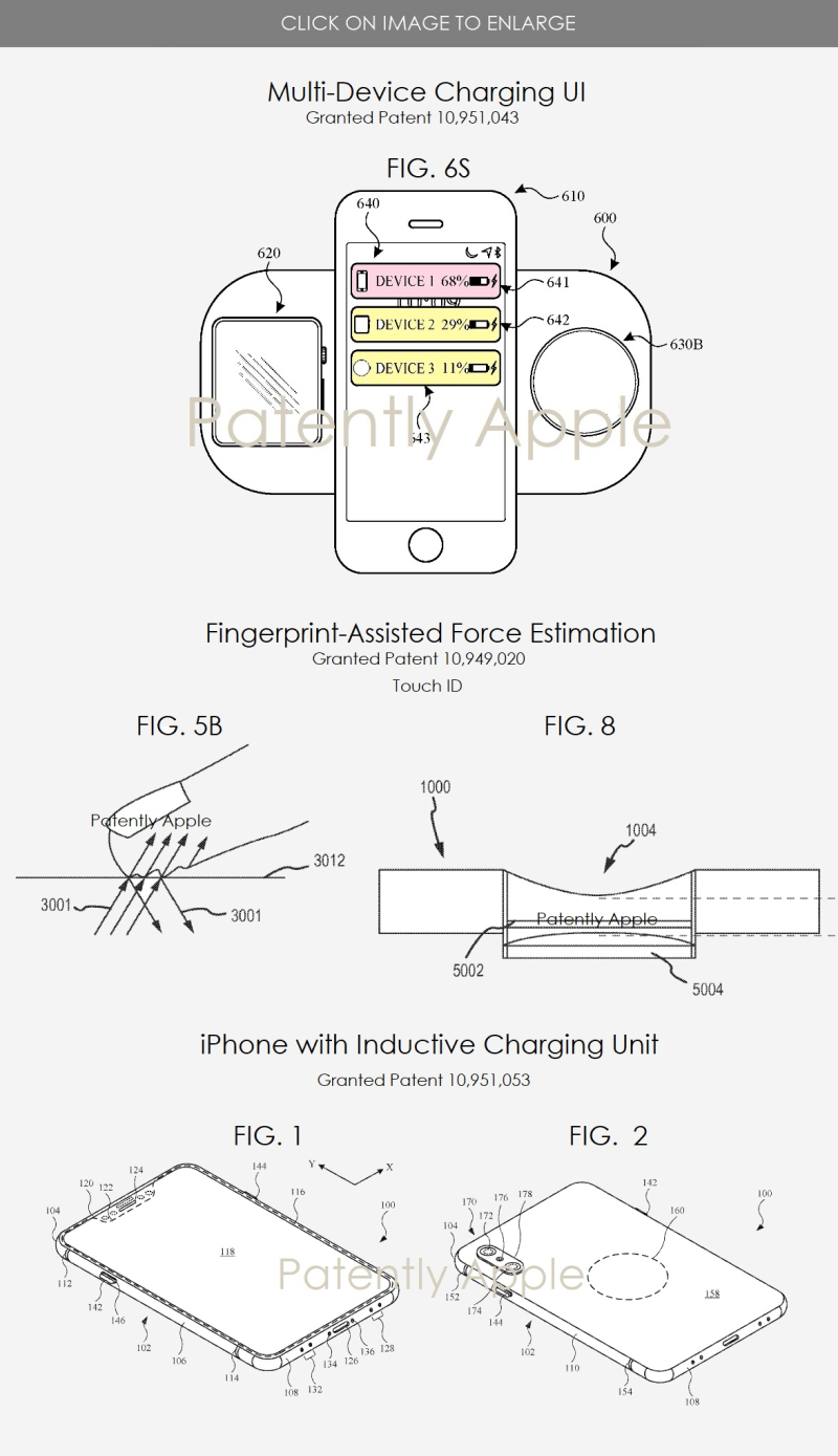 2 X apple patent figs for inductive charging pad  TOUCH ID  inductive charging unit in iPhone