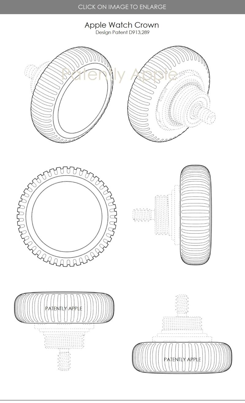 3 Apple Design Patent  Apple Watch Digital Crown