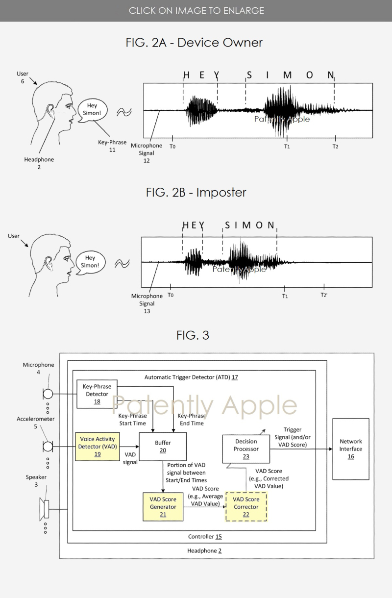 2 Apple patent figures for VAD privacy security feature