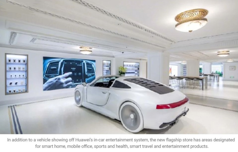 3 Huawei store provides a vehicle to showcase their CarPlay alternative