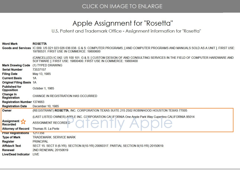 3 Xfinal -  Apple  U.S. Trademark Rosetta  assisgned to Apple