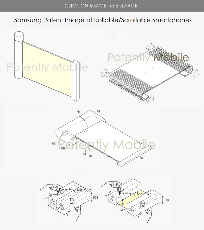 3 samsung patent images of rollable - scrollable smartphone form factors