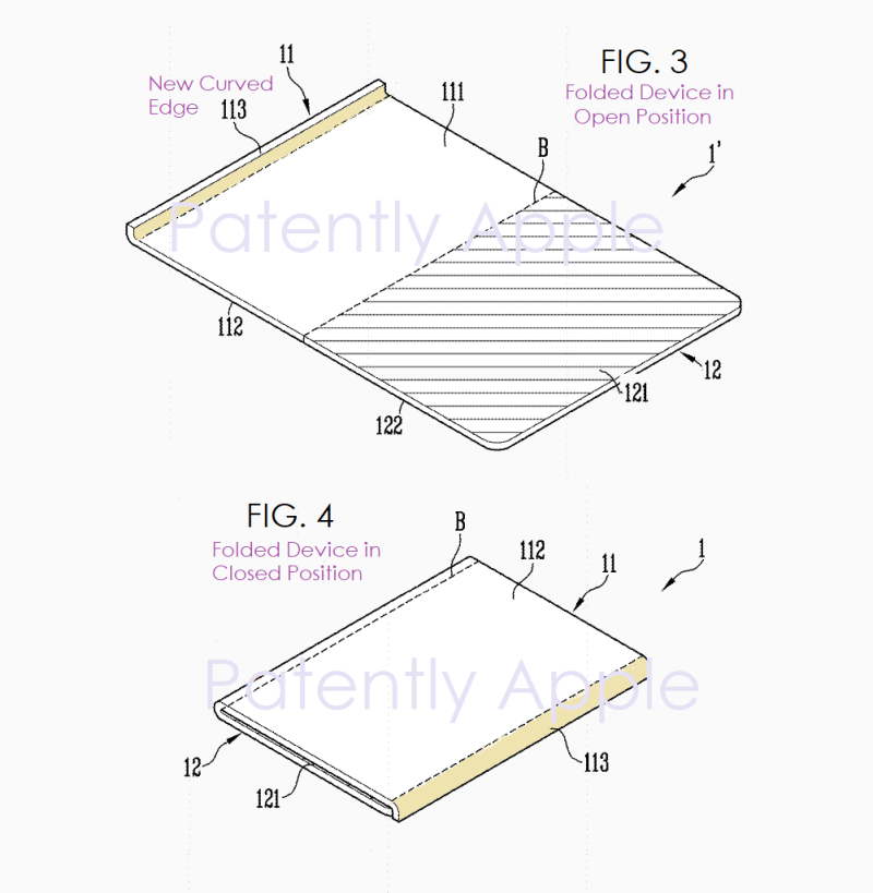 3 X samsung patent with foldable device with added lip to protect the phone from having debris