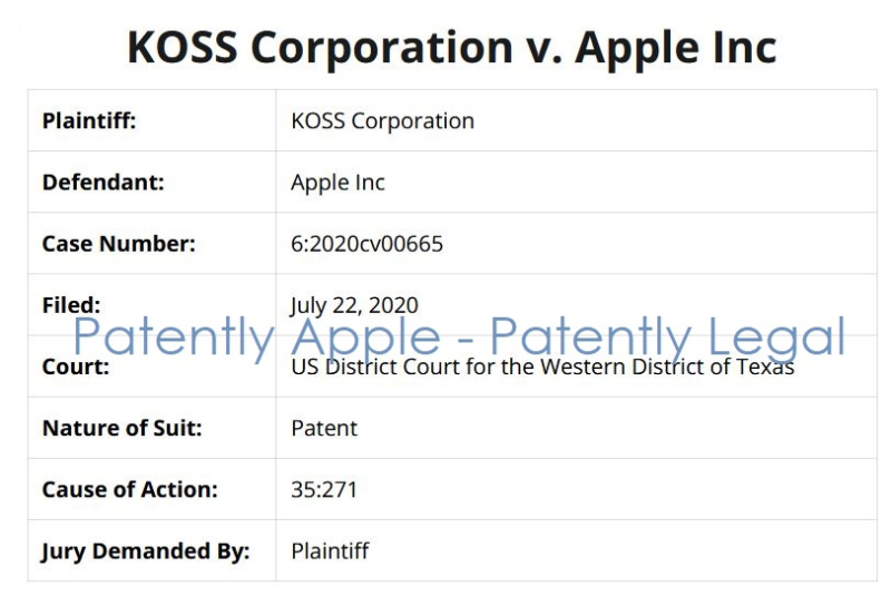 4 - koss v Apple patent infringement