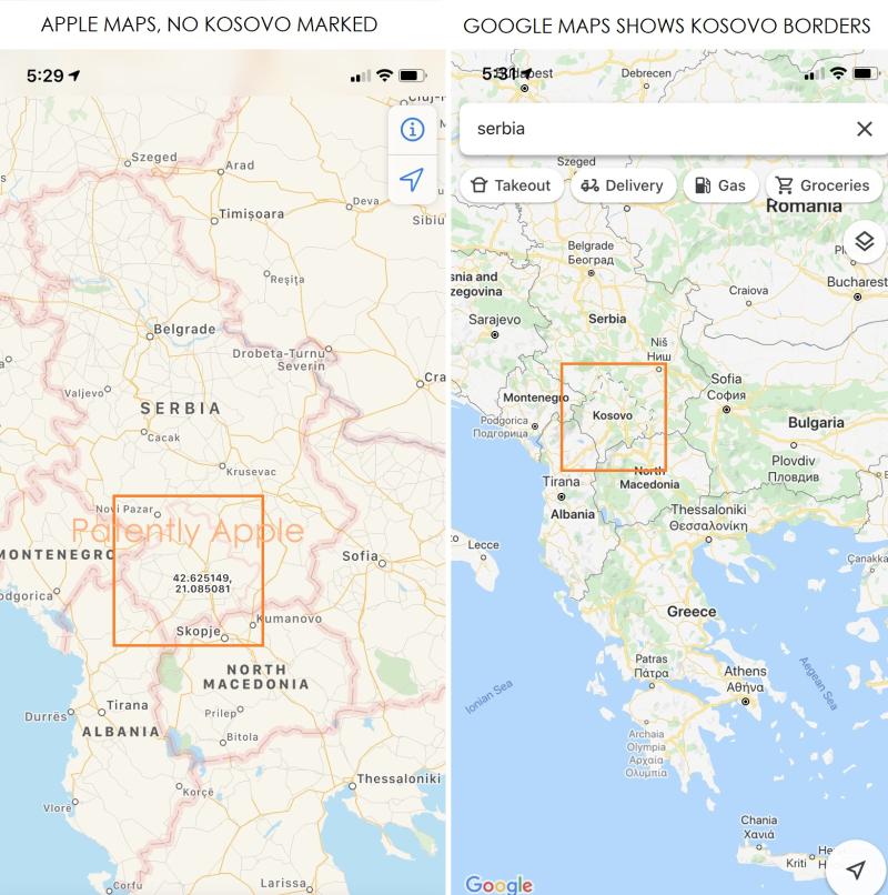 2 X Apple maps no kosovo border shown