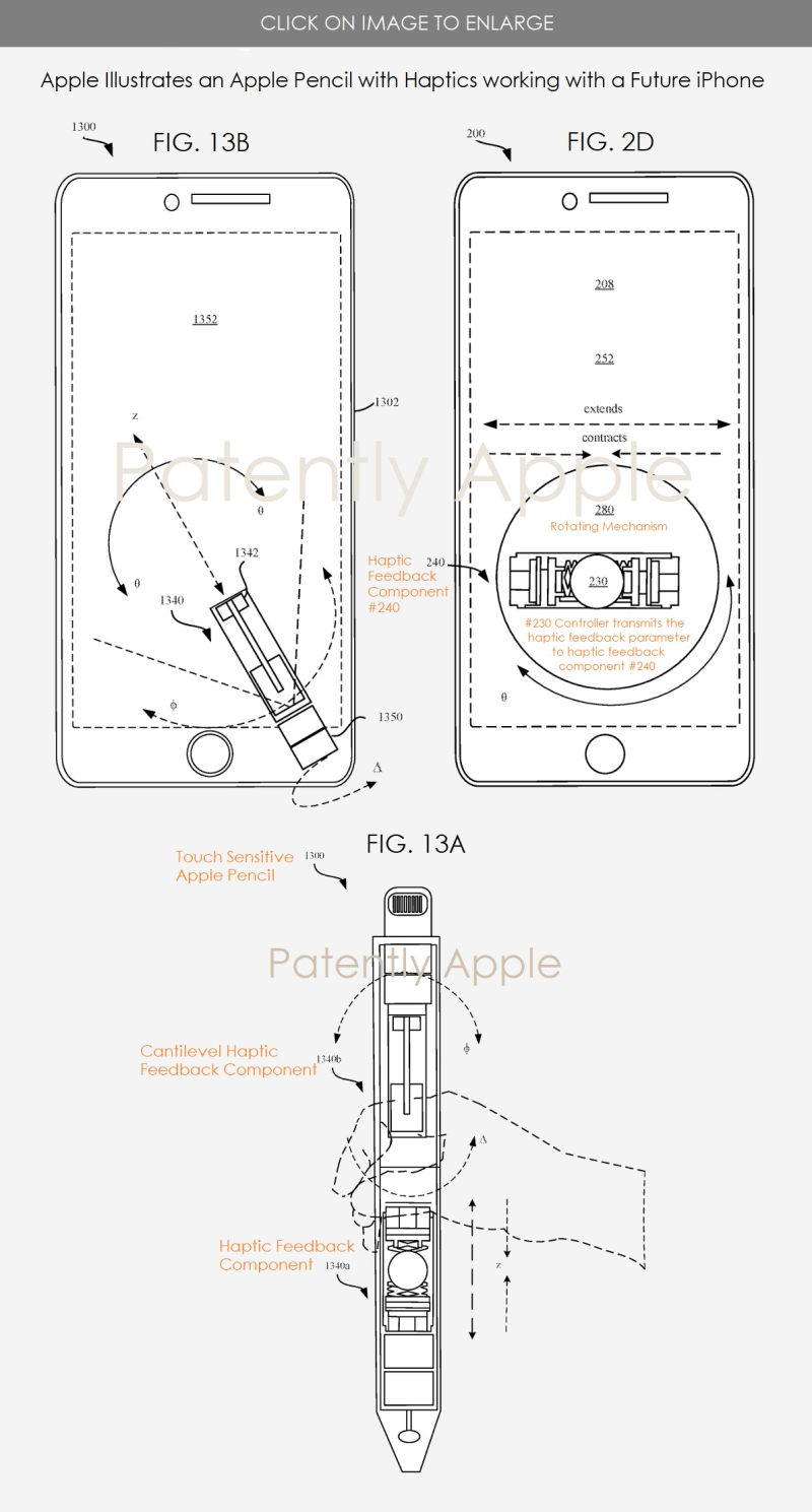 2 x  iphone working with future Apple Pencil with independent haptic feedback component